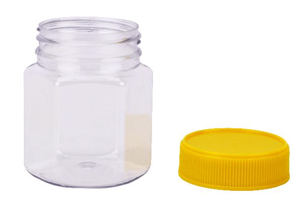 Plastic Honey Jar 250gm Hex Yellow Lid, Food Grade, Carton 240 pcs, Jars & Lids