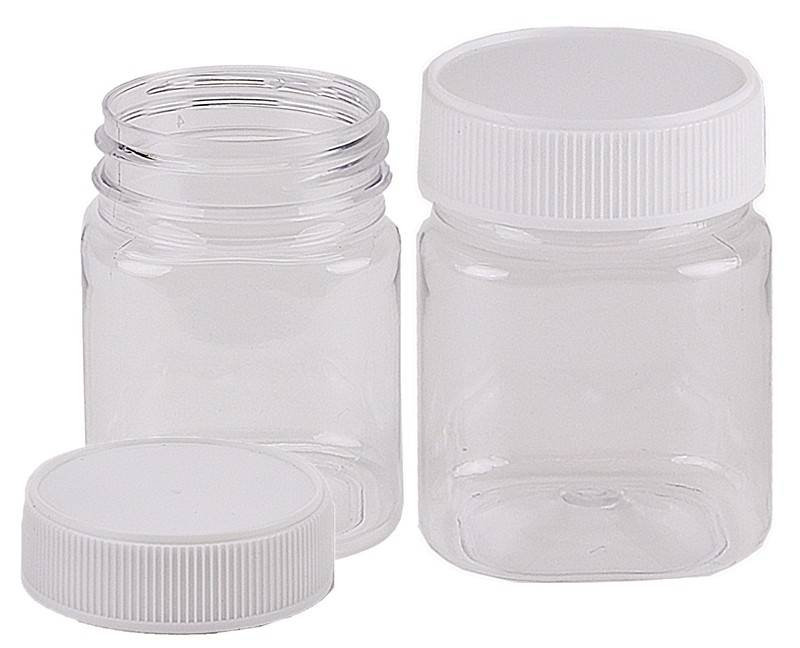 Plastic Honey Jar 250gm Square White Lid, Food Grade, Carton 240 pcs, Jars & Lids
