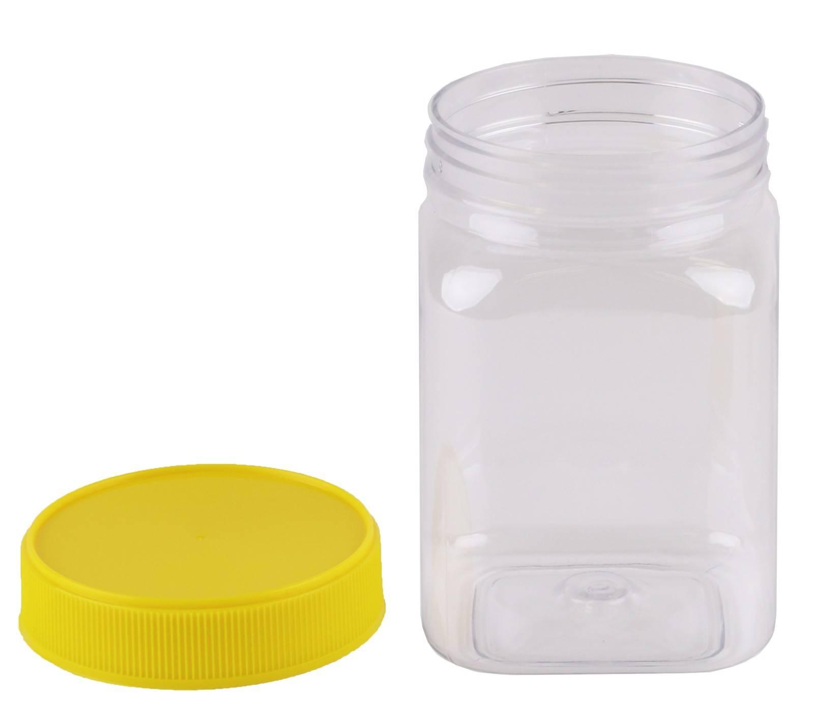 Plastic Honey Jar 500gm Square Yellow Lid, Food Grade, Carton 210 pcs, Jars & Lids