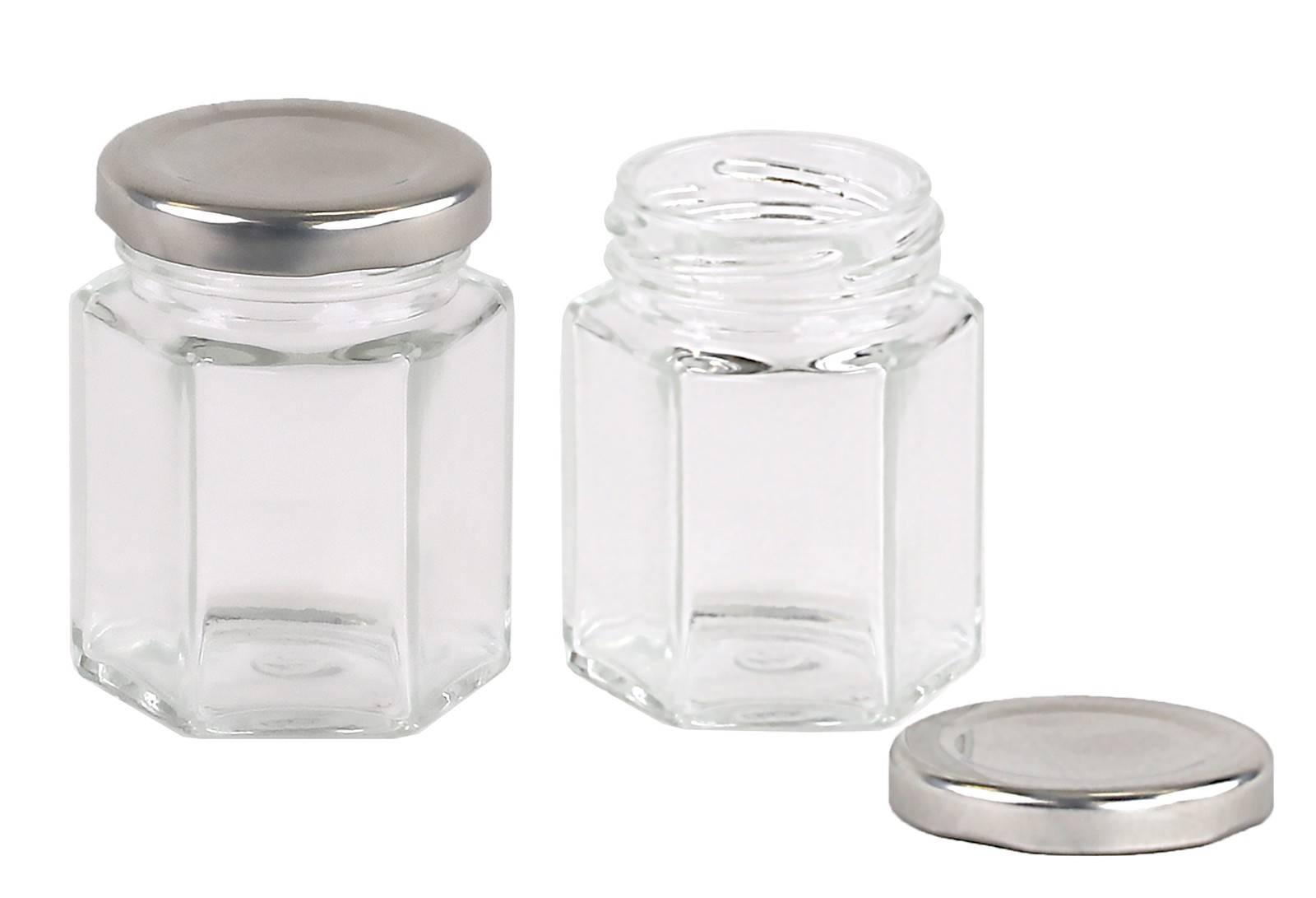 Carton 120 pcs Honey Jars - 60gm size - Glass Hexagonal with Silver Lid
