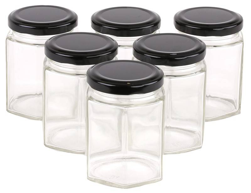 Glass Jar 180ml/250g Hexagonal Glass Jars with Black, Gold or Silver Lid