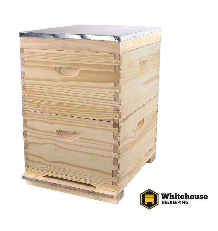 ASSEMBLED Double Level Timber Beehive 10 Frame with Frame Options