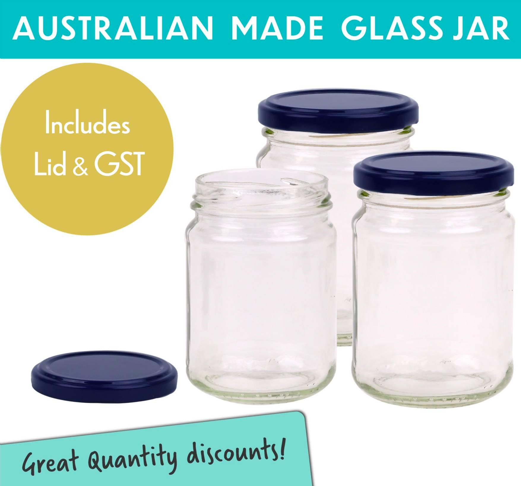 Round Glass Jars 250ml/350g size. Round Glass Jar with Lid - Blue