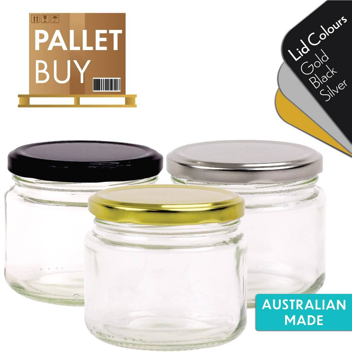 Pallet of 2730 Round Glass Jars - 300ml / 420g size - with Lids. Australian Made. GST Incl.