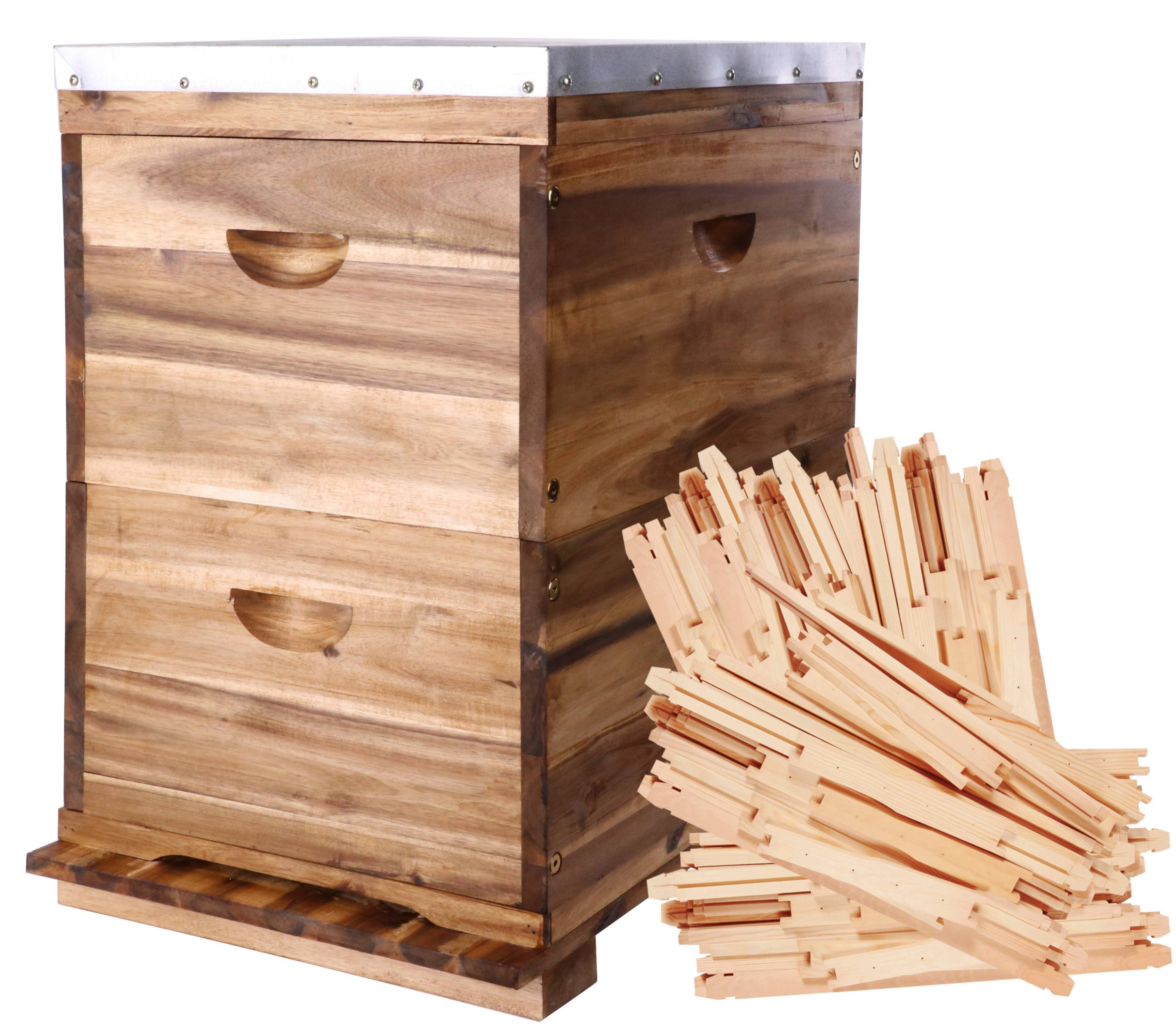 8 Frame Double Level Full Depth Acacia Beehive with 16 flat packed Frames -  Assembled Lid & Base