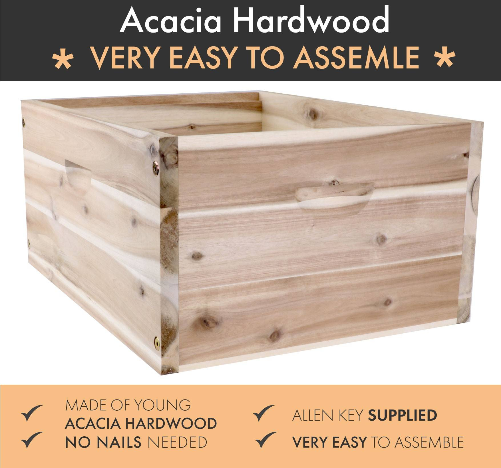 Full Depth 10 Frame acacia Hardwood Supers -EASY ASSEMBLE - Whitehouse Beekeeping