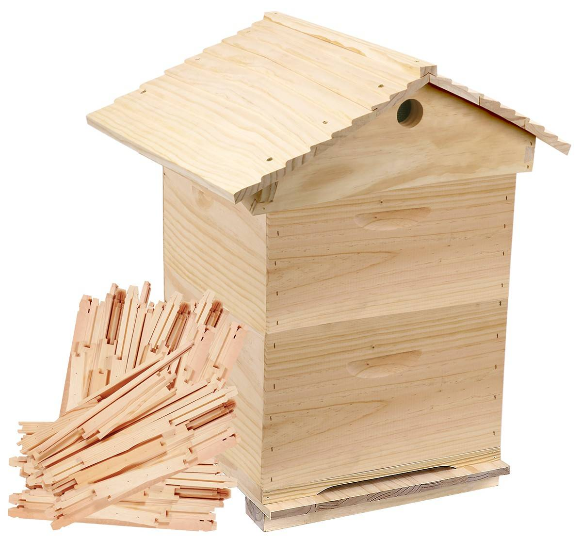 Complete Gabled Lid -  10 Frame Full Depth double Rebated Beehive with 20 Frames, Inner cover & Assembled Lid & Base