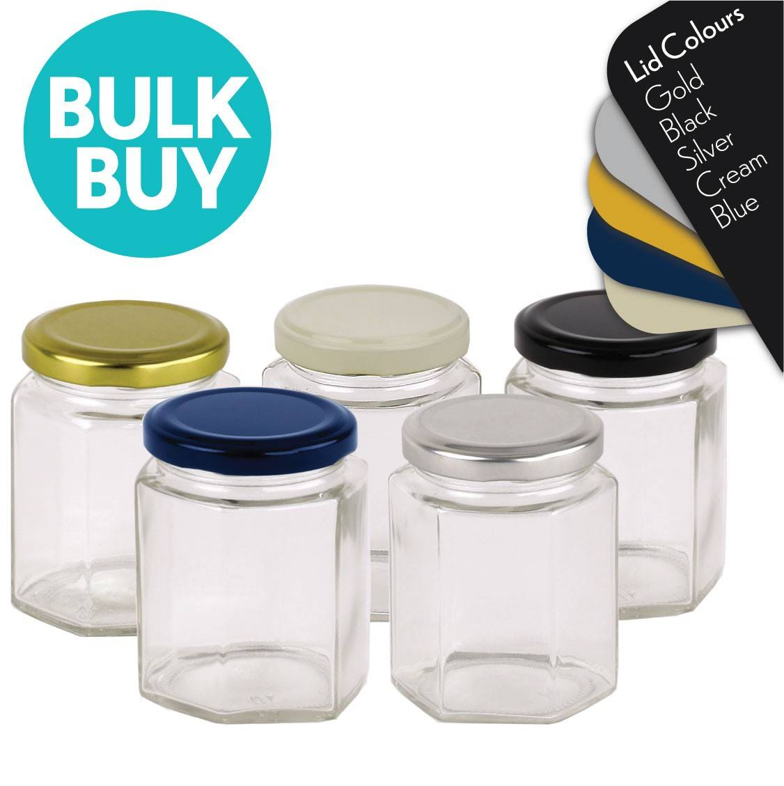 Glass Jar 280ml/400g Hex Glass Jars with Blue, Black, Gold, Cream or Silver Lid