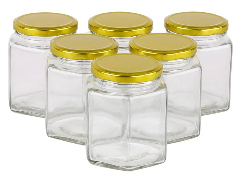 Glass Jar 380ml/500g Hexagonal Glass Jars with Black, Gold or Silver Lid