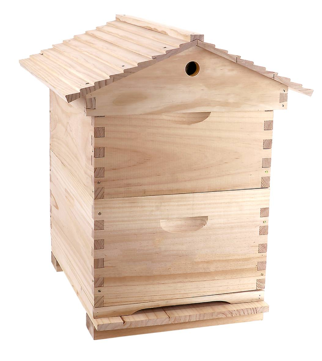 17 in 1 Gabled Roof Double Level Hive and Mesh Base Beetle Draw Deluxe Beekeeping Kit - 10 Frame Size