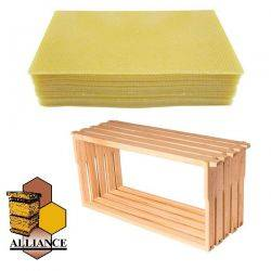 Bees Wax Foundation & Full Depth Alliance Timber Frames 20 Pack Kit