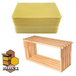 Bees Wax Foundation & Full Depth Alliance Timber Frames 40 Pack Kit
