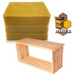 Bees Wax Foundation & Full Depth Alliance Timber Frames 100 Pack Kit