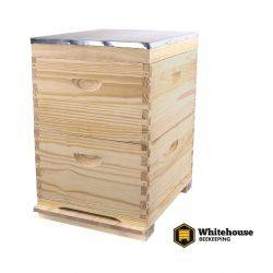 Double Level Full Depth Timber Beehive, 10 Frame, No Frames.  Assembled Lid & Base.