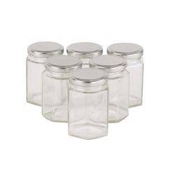 Carton 90 pcs Honey Jars - 100gm size - Glass Hexagonal with Silver Lid