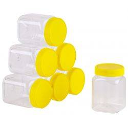 Carton of 120pc Honey Jars - 1kg size - Square Yellow Lid