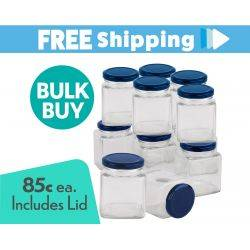 360 pcs Honey Jars 280ml / 400gm size Square Jars with Blue Lids