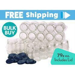Bulk Buy 480 pcs Honey Jars - 250ml / 350gm size - Round Glass Jars with Blue Lids