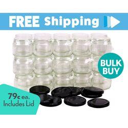 Carton 500pcs Honey Jars - 300ml / 420gm size - Round Glass Jars with Black Lids