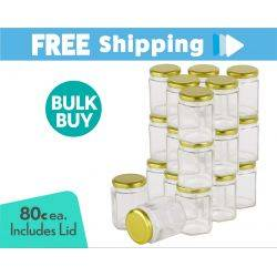 360 pcs Honey Jars 180ml / 250gm size Hexagonal Jars with Gold Lid