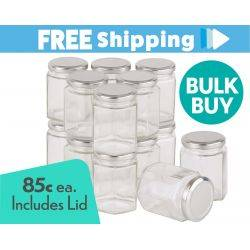 360 pcs Honey Jars 280ml/ 400gm size Hexagonal Jars with Silver Lid