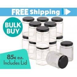 360 pcs Honey Jars 280ml / 400gm size Hexagonal Jars with Black Lid