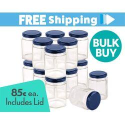 360 pcs Honey Jars 280ml / 400gm size Hexagonal Jars with Blue Lid
