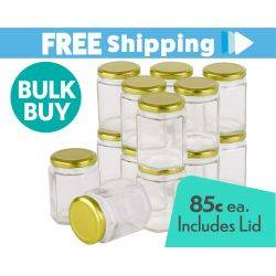 360 pcs Honey Jars 400gm size Hexagonal Jars with Gold Lid