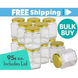 360pcs Honey Jars 370ml / 500gm size Hexagonal Jars with Gold Lid