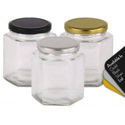 Honey Jars 380ml / 500gm size Hexagonal Jars with Black, Gold or Silver Lid