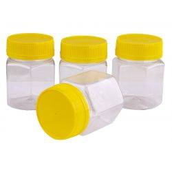 Plastic Honey Jar 250gm Hex Yellow Anti-Theft Lid, Food Grade, Carton 240 pcs, Jars & Lids