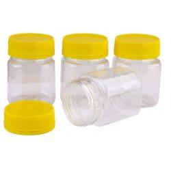 Carton 240 pcs Plastic Honey Jars & Lids 250gm Square Yellow Anti Theft Lid & Honey Container Food Grade