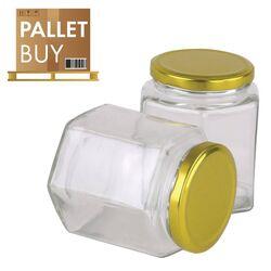 Pallet of 500gm Hexagonal Glass Jars 2184pcs - Gold Lid -  GST incl.