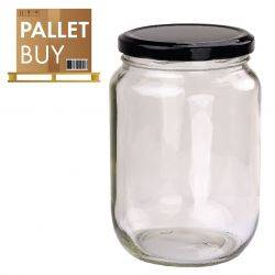 Pallet of 1kg Round Glass Jars 1296 pcs - Black Lid - GST incl.