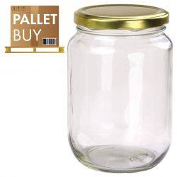 Pallet of 1kg Round Glass Jars 1296 pcs - Gold Lid - GST incl.