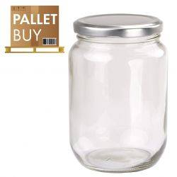 Pallet of 1kg Round Glass Jars 1296 pcs - Silver Lid - GST incl.