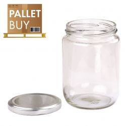 Pallet of 500gm Round Glass Jars 2475pcs - Silver Lid - GST incl.