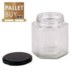 Pallet of 500gm Hexagonal Glass Jars 2184pcs - Black Lid - GST incl.