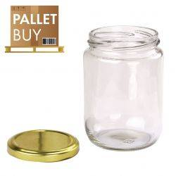 Pallet of 500gm Round Glass Jars 2475pcs - Gold Lid - GST incl.
