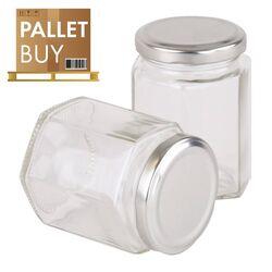Pallet of 500gm Hexagonal Glass Jars 2184pcs - Silver Lid - GST incl.