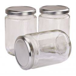 Carton 36 pcs Honey Jars - 500gm size - Round Glass Jars with Silver Lids