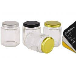 Honey Jars 180ml / 250gm size Hexagonal Jars with Black, Gold or Silver Lid