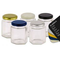 Honey Jars 280ml / 400gm size Hexagonal Jars with Blue, Black, Gold, Cream or Silver Lid