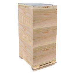 Triple Level Full Depth Beehive with Rebated Supers plus Solid Assembled Lid & Base