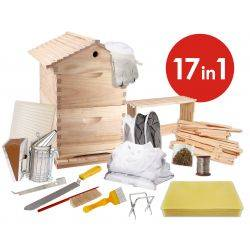 17 in 1 Gabled Roof Double Level Hive and Mesh Base Beetle Draw Deluxe Beekeeping Kit - 8 Frame Size