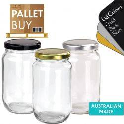 Pallet of 1260 Round Glass Jars - 730ml / 1kg  size - with Lids. Australian Made. GST Incl.