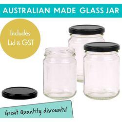 Round Glass Jar - 250ml / 350gm size - with Black Lid
