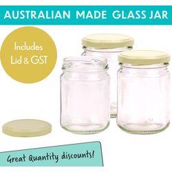 Round Glass Jars - 250ml / 350gm size -  with Cream Lids