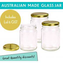 Round Glass Jar - 250ml / 350gm size - with Gold Lid