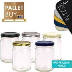 Pallet of 3960 Round Glass Jars - 250ml / 350gm size - with Lids. Australian Made. GST Incl.
